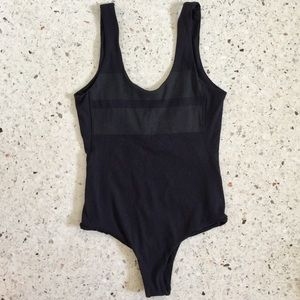 HURLEY Black Striped Ribbed One Piece Bodysuit